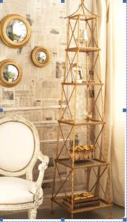 two's co. 3 tier gilded bamboo etagere